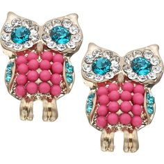 Designer Clothes, Shoes & Bags for Women Pink Jewelry, Jewelery, Owl Jewelry, Owl Earrings, Pink Owl, Jewelry Stores, Women's Accessories, Studs, Bling