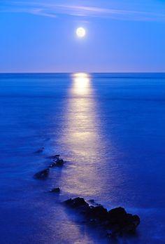 Moonrise on Peveril Point   Swanage, Dorset, England