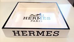 """HERMES, White Lacquer Serving Tray, Replica Equestrian Hermes Logo 12 x 12"""" Square $140"""