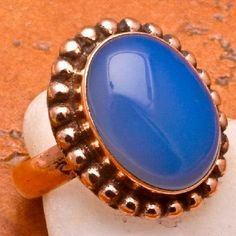 SOLID COPPER NATURAL BLUE CHALCEDONY GEMSTONE RING SZ 7