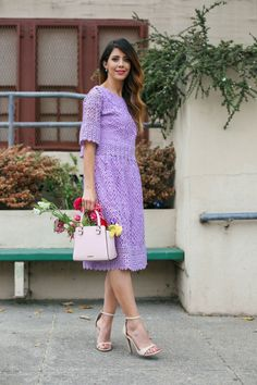 Lace Purple Dress | Mother's Day style ideas | what to wear on Mother's Day | spring fashion tips | spring style ideas | spring outfit ideas | warm weather fashion | how to style a lace dress | how to wear a lace dress || The Girl in the Yellow Dress