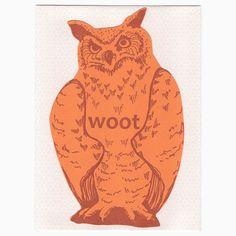letterpress owl card die cut woot ... Owl Card, Orange Paper, Letterpress Printing, Blackbird, Love Notes, Die Cutting, Ink, Prints, Pattern