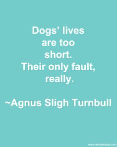 Dog's lives are too short. Their only fault, really.