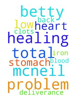 Pray for my total healing my name is betty mcneil - Pray for my total healing my name is betty mcneil   iron low, back ,stomach problem, blood clots , heart problem, deliverance  Posted at: https://prayerrequest.com/t/2nx #pray #prayer #request #prayerrequest