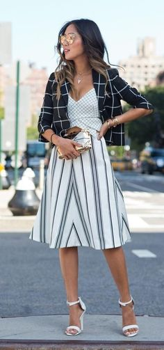 Black and white. Stripes and squares.