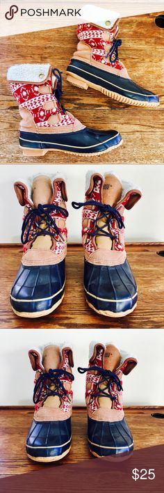 Khombu, Maya Snow Boots, Navy and Red Quilted burrr. perfect for the cold. gentle wear, fair pre-loved condition. salt wear to metal grommets. navy soles and laces, red quilted warm slouchy boot. easy slip on and off, many wears left. Khombu Shoes Winter & Rain Boots