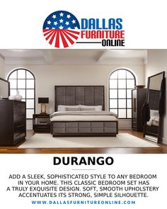 Add sleek, sophisticated style to any bedroom in your home. This classic bedroom set has a truly exquisite design. Soft, smooth upholstery accentuates its strong, simple silhouette. Its base and headboard are adorned with bold, rectangular shapes, adding a touch of creative character. Crafted for quality and durability, this bed is a fabulous addition to any home. #furniture #decorating #ContemporaryDesign #BedroomSet #bedrooms #beds #dressers #mirrors #nightstands #DFW #Dallas #FortWorth King Beds, Queen Beds, Nightstands, Dressers, Home Bedroom, Bedrooms, King Bed Frame, Floor Mirror, Furniture Online