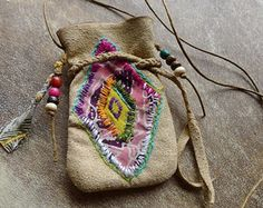 Items similar to Rainbow Healing Power Medicine Bag/ Pouch/ Tribal/ Hippy/ Chic/ Boho/ Ethnic/ Recycled Batik on Etsy Textile Jewelry, Fabric Jewelry, Boho Jewelry, Tribal Jewelry, Estilo Hippie, Hippie Chic, Hippie Masa, Modern Hippie, Hippie Fashion