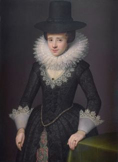 """Portrait of Anna Boudaen Courten by Saloman Mesdach, 1619 the Netherlands, Rijksmuseum Amsterdam - """"Dutch"""" or """"Round Gown"""" according to England - closed front is called a bouwen in Dutch and an open front with stomacher is a vlieger"""