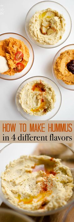 Hummus is the perfect creamy, protein-packed spread to use as a snack dip or to spread onto sandwiches and wraps. But did you know it's ultra-simple to make at home, and just takes 5 minutes? Today I'm showing you how to make hummus in 4 tasty flavors. #hummus #chickpea #garlic #dip