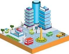 Town In Isometric View With The Landscape Royalty Free Cliparts, Vectors, And Stock Illustration. Image 12004636.