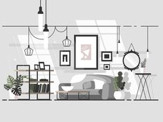 Cozy living room, Cozy living room by Anton Fritsler Interior Design Vector, Drawing Room Interior, Modern Style Homes, Cozy Living Rooms, Flat Illustration, Flat Design, Ui Design, Graphic Design, Interior Architecture
