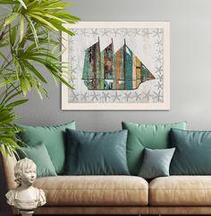 Nautical print Distressed Wood Effect Boat 1:  nautical housewarming gift schooner sloop Coastal Wall Art Beach art Coastal living Nursery