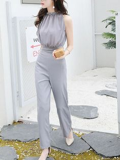 Formales Outfits – Page 9265221181 – Lady Dress Designs Classy Work Outfits, Cute Casual Outfits, Ulzzang Fashion, Korean Fashion, Formal Pants Women, Jumpsuits For Women Formal, Fashion Pants, Fashion Dresses, Vestido Casual