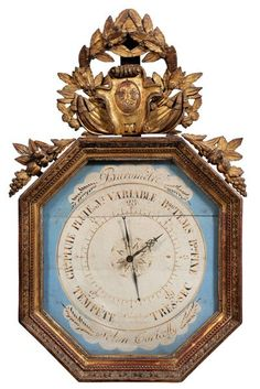 Octagonal French Empire Giltwood Barometer