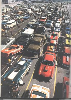 Vintage drag racing staging lane. So cool.
