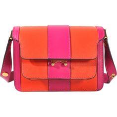 Marni Trunk Mini bag (€1.745) ❤ liked on Polyvore featuring bags, handbags, orange, orange bag, marni handbags, red handbags, red purse and miniature purse