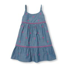 Girls Sleeveless Embroidered Flower Tiered Chambray Dress