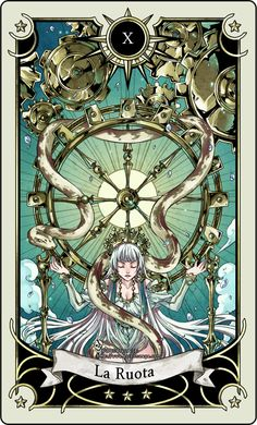 Tarot card 10- the Wheel of fortune by rann-poisoncage.deviantart.com on @deviantART