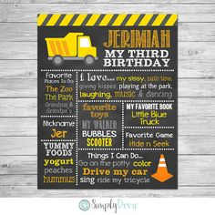 Construction Birthday chalkboard printable sign. This will be personalized by me with your little ones details. You will print the file and use as a keepsake, photo prop for your childs birthday party, a cake smash photography session or birthday photos. This is not a template. HOW TO