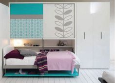 Multifunctional Furniture By Clei for Small Teen Room Design (i like the modern girl feel of it)