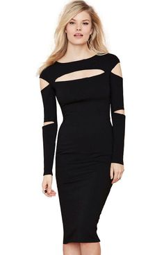 Sexy Long Sleeve Slash Collar Solid Color Hollow Out Dress For Women  blackSexy Long Sleeve Slash Collar Solid Color Hollow Out Dress For Women  black ddc8ca835b5c