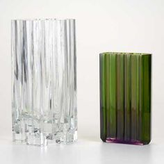 """TAPIO WIRKKALA; IITTALA; ROSENTHAL; Alpina clear glass vase together with cased glass Rosenthal vase; Both marked and larger signed TAPIO WIRKKALA 3571, Larger: 10 3/4"""" 