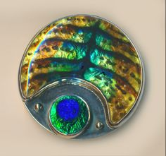 Large Artisan Sterling Silver, Enamel and Old Peacock Eye Glass Jewel ~ R C Larner Buttons at eBay Etsy http://stores.ebay.com/RC-LARNER-BUTTONS and https://www.etsy.com/shop/rclarner