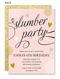 Slumber Party Invitation Sleepover Invitation Pajama Party