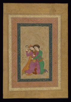 Couple Embracing CREATOR Style of Mu'in Musawwir (active 1044-1109 AH/AD 1635-1697) (Artist) Iran, 1098 AH/AD1689 (Safavid) ink and pigments on paper mounted on pasteboard ACCESSION NUMBER W.690.A MEASUREMENTS H: 14 x W: 9 7/16 in. (35.5 x 24 cm); Image H: 7 11/16 x W: 4 1/8 in. (19.5 x 10.5 cm) The Walters Museum