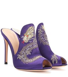 GIANVITO ROSSI Dragon embroidered satin mules