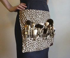 Custom makeup artist brush belt from aSoftBlackStar on Etsy, brown leopard