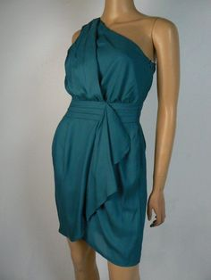 Ruffle detail at the skirt. One shoulder. Bcbgeneration, Sheath Dress, One Shoulder, Teal, Satin, Skirts, Color, Dresses, Fashion
