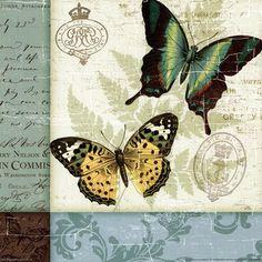 gold and green butterflies