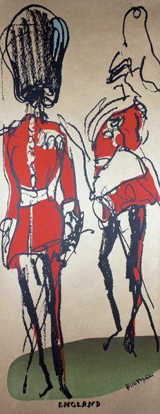 London - Feliks Topolski - The Guardsmen (Powered by CubeCart) Sale Poster, Vintage Travel Posters, Limited Edition Prints, Line Drawing, Caricature, Illustrators, Spiderman, Drawings, Artwork
