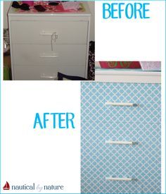 Nautical by Nature DIY contact paper dresser