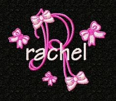 Girly Bows Monogram - 4x4   Alphabets   Machine Embroidery Designs   SWAKembroidery.com Fancy Fonts Embroidery