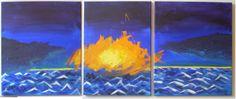 """""""Horizonte cercano"""" Acrílico sobre lienzo      Composición horizontal de 3 lienzos de 38 x 45cm."""