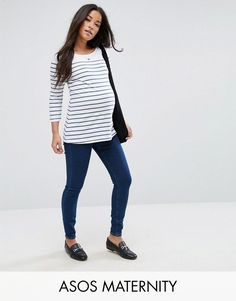 ASOS MATERNITY RIDLEY High Waist Skinny Jeans in Popular Deep Blue Was