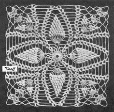 Totally Free Crochet Pattern Blog - Patterns: Popcorn Pineapple Square 733 Free Crochet Pattern