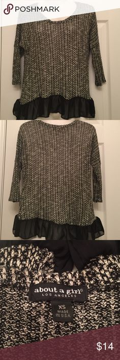 About a girl Blouse XS Preowned. It is XS in size but it is loose so it fits if you're small or medium. Great condition like new Tops Blouses