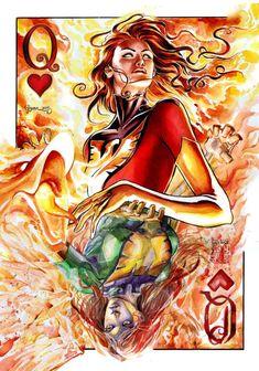 Queen of Hearts: Jean Grey - Phoenix and Dark Phoenix by Dan Govar *
