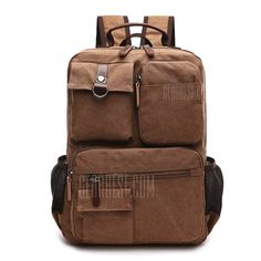 b8a286131d96 Men Fashion Retro Canvas Travel Backpack - COFFEE Backpack Online