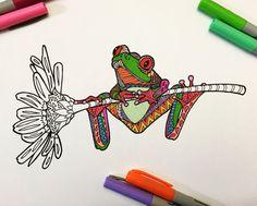 PDF Zentangle Coloring Page: Frog on Flower by DJPenscript on Etsy