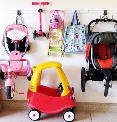 Home Organization Play time can sometimes equate to messy time. One minute you have a happy organize Garage Tool Organization, Organization Station, Garage Storage, Organization Ideas, Stroller Storage, Real Coffee, Unusual Gifts, Organizing Your Home, Organizer