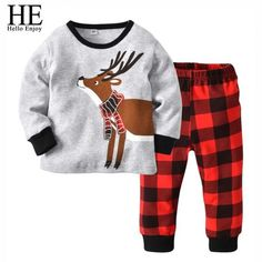 Buy Kids Boys Girls Pajamas Set Long Sleeve Elk Tops+Stripe Pants Pjs Set - Grey+red Grid - and more Boys' Pajama Sets enjoy up to off, fast worldwide shipping. Baby Christmas Pajamas, Kids Christmas Outfits, Girls Fall Outfits, Plaid Outfits, Toddler Outfits, Christmas Clothes, Autumn Outfits, Christmas Suit, Toddler Christmas
