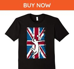 Mens Volleyball UK Flag United Kingdom Player Silhouette T-Shirt Small Black - Sports shirts (*Amazon Partner-Link)