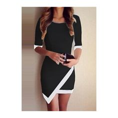Asymmetric White Edging Black Sheath Dress ($17) ❤ liked on Polyvore featuring dresses, outfits, vestido, black, white sheath dress, half sleeve dress, white day dress, print mini dress and patchwork dress