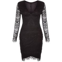 New Look AX Paris Black Lace Bodycon Dress (£35) ❤ liked on Polyvore featuring dresses, black, v neck lace dress, bodycon dress, lacy dress, party dresses and v-neck dresses