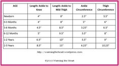 Leg Warmer Size Chart - Crochet- I've been searching for this!!!!!